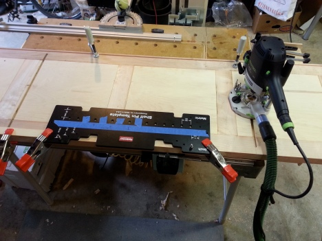 A must-have jig for cabinet makers. Shelf pin jig. I highly recommend this one because of its easy to use and accuracy.